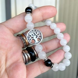 Genuine white agate & onyx tree of life bracelet